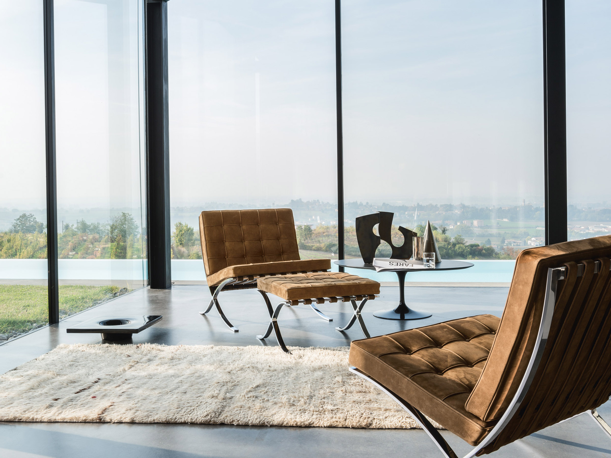 The Barcelona Chair, designed by Ludwig Mies van der Rohe and Lilly Reich. Photo credit: Courtesy of Knoll, Inc.